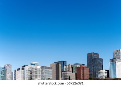 Cityscape with blue sky in Otemachi-area, Tokyo.