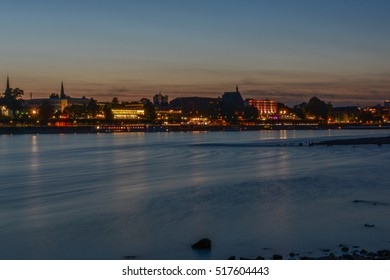 Cityscape of Bonn and river Rhine in the evening, Germany