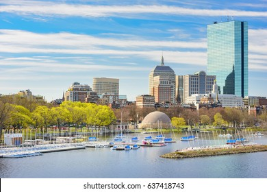 Cityscape of Boston, Back Bay and Charles River, located in Boston, Massachusetts, USA.