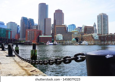 Cityscape of Boston captured from Fan Pier Park on a cloudy day, Massachusetts, USA