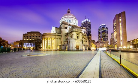 Cityscape of Boston. One of Boston's most popular tourist attraction. The church constructed between 1932 and 1934, neoclassical style building, historic landmark in Boston's Back Bay.