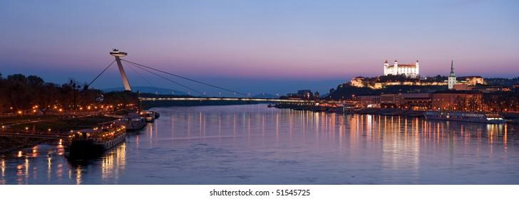 cityscape of Bratislava at dusk