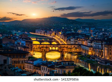 Cityscape and bridges of Florence in early morning