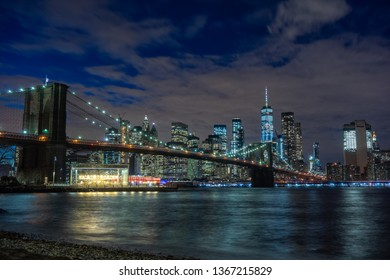 Cityscape of Brooklyn Bridge from Brooklyn in New York City