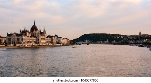 Cityscape of Budapest with Hungarian Parliament, Danube river, Szechenyi Chain Bridge and Buda Castle