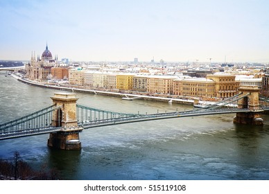 cityscape of Budapest with parliament building and chain bridge, Budapest, Hungary, retro toned