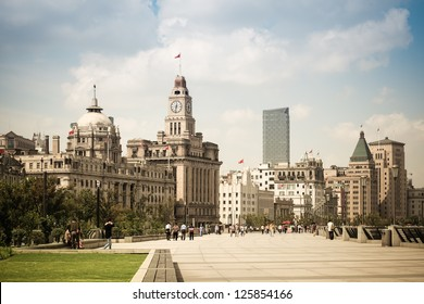 cityscape of the bund in shanghai with excellent historical buildings
