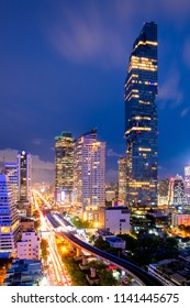 Cityscape of business center in downtown of Bangkok during rush hour time,Thailand