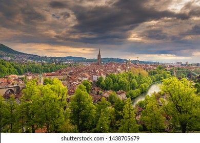 Cityscape Capital City of Bern, Switzerland, Panoramic Scenery Old Town City View and Swiss Architectural Historical Building in Bern. Architecture Hosing and Residential at Sunset Scene of Berne