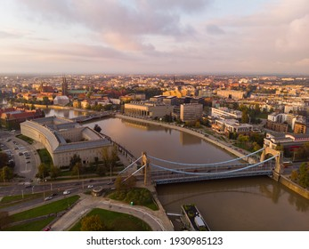 Cityscape captured by a drone. Wrocław. Sunshine. - Shutterstock ID 1930985123