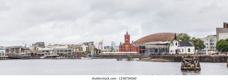 Cityscape of Cardiff bay wih rainy clouds,  Wales, UK