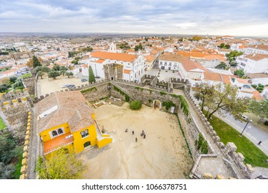 Cityscape with castel and cathedral, Beja, Alentejo, Portugal