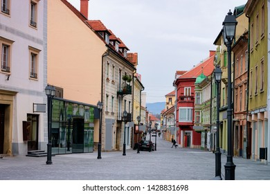 Cityscape of Celje old town in Preshernova Street in Slovenia. Architecture in Slovenija. Travel