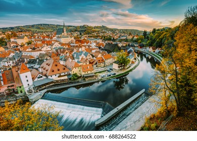 Cityscape Of Cesky Krumlov, Czech Republic. Autumn Evening At Susnet Time. UNESCO World Heritage Site. Popular Touristic Place, Town