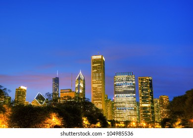 Cityscape of  Chicago in the evening light