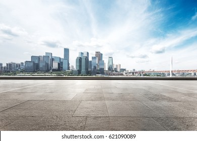 cityscape of chongqing from empty brick floor