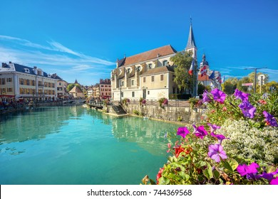 Cityscape with church of Saint Francois de Sales in Annecy. France