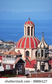 cityscape, church and sea, La Orotava, Tenerife, Canary Islands
