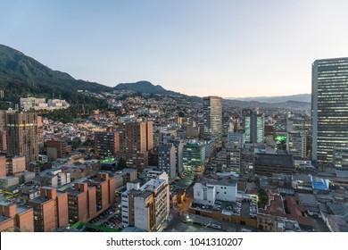 Cityscape of Bogotá city