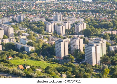 Cityscape of a city with concrete blockhouses, in east Europe, Hungary