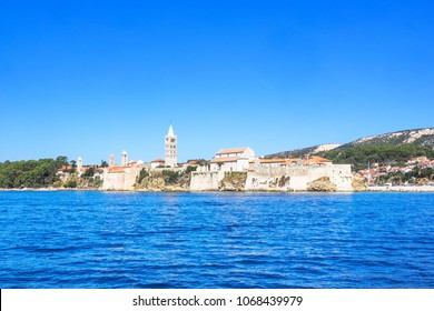 Cityscape of the city Rab, Croatia, seen from the water