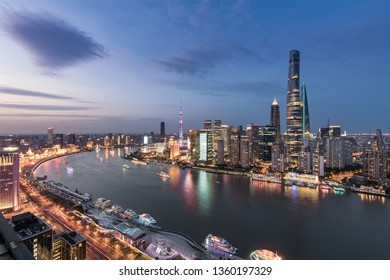 Cityscape and city skyline at sunset in Shanghai,China