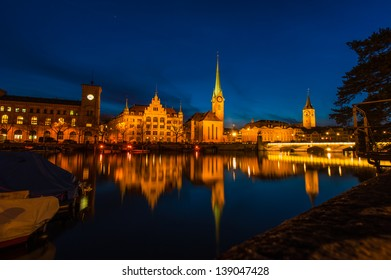 Cityscape of Clock Tower in Zurich, Switzerland
