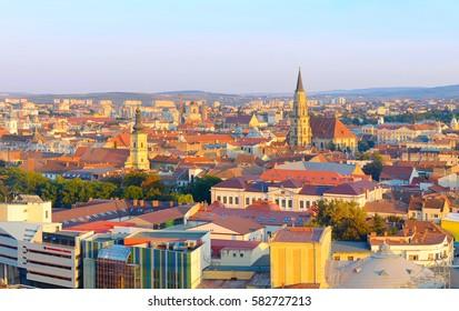 Cityscape of Cluj-Napoca city at sunset. Romania