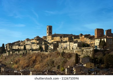 Cityscape of Colle di Val d'Elsa, ancient small town in Tuscany famous for the production of crystals. Siena, Italy, Europe