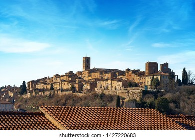 Cityscape of Colle di Val d'Elsa, ancient small town in Tuscany famous for the production of crystals. Siena province, Italy, Europe