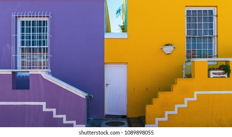 Cityscape of the colorful housing in the Malay quarter of Bo Kaap in the city of Cape Town, Western Cape province, South Africa.