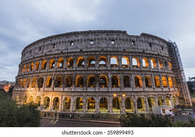 Cityscape of the Colosseum in Rome during the Christmas holidays