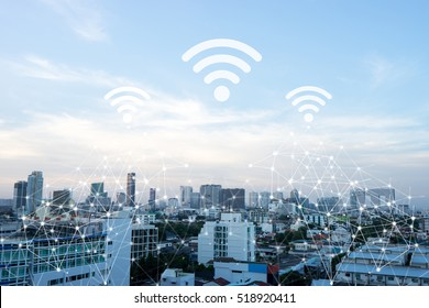 Cityscape connected line with wifi sign, technology concept, internet of things conceptual