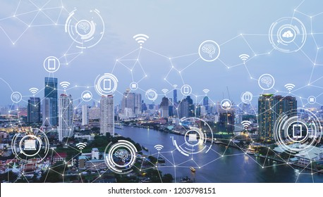 Cityscape with connecting dot and technology icon of smart city conceptual