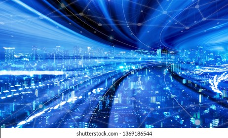 Cityscape with connecting dot technology of smart city conceptual, fast speed of data transfer on next generation internet