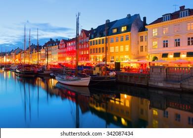 Cityscape of Copenhagen at a summer night