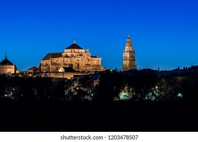 Cityscape of Cordoba at sunset with the Mezquita, Andalusia, Spain