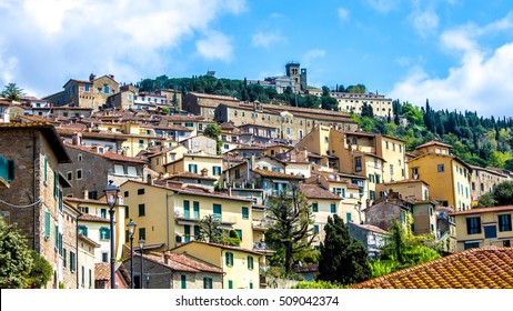 Cityscape of Cortona, a medieval town in tuscany, Italy
