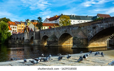 Cityscape of Czech town Pisek with stone bridge and old city - Shutterstock ID 1629518500