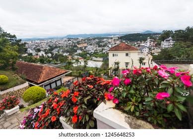 Cityscape of Dalat in Vietnam with flower foreground.Dalat, Vietnam 19 Oct. 2018.