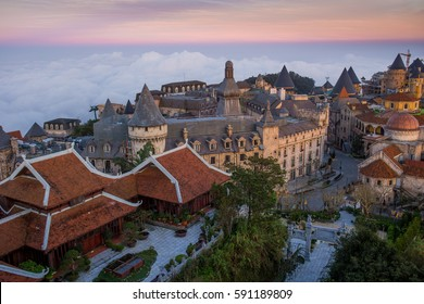 Cityscape of DaNang in Vietnam in the evening light. rooftop panorama. beautiful cityscape. Beautiful houses with tile roofs.