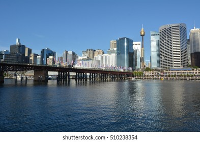 Cityscape of Darling Harbour at sunset, a recreational and pedestrian precinct situated on western outskirts of the Sydney central business district in New South Wales, Australia.