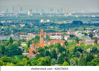 Cityscape of Darmstadt (Germany), the skyline of Frankfurt am Main in the background, HDR-technique