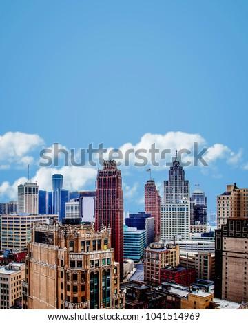 Cityscape of Detroit Michigan