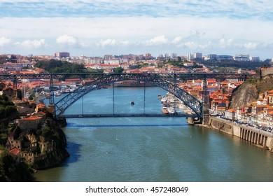 Cityscape with Dom Luis I Bridge over Douro River between Porto and Vila Nova de Gaia in Portugal