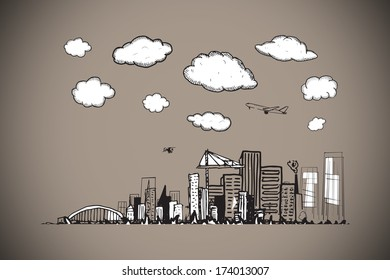 Cityscape doodle against grey background with vignette