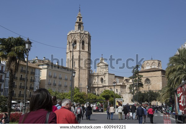 Cityscape in down town of Valencia during Fallas festival on March 14, 2017 Spain Miguelet belfry in cathedral