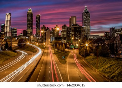 Cityscape of downtown Atlanta at the twilight hour