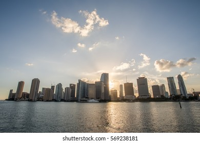 Cityscape of Downtown Miami from the port of Miami
