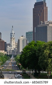 Cityscape, downtown Philadelphia.   Looking down the street to City Hall, topped by the statue of William Penn.